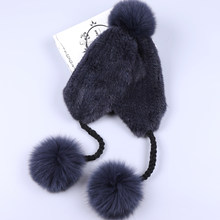 SUPPEV & SDDTIO frauen Winter Nerz Hut Ohr Klappe Fuchs Pelz Pom Bomber Hüte Caps Russische Hut Uschanka aviator Trapper Schnee Skifahren(China)
