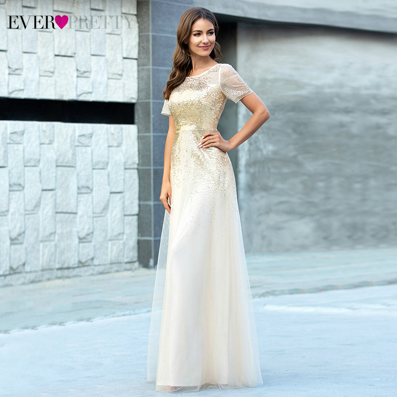 Elegant Gold Evening Dresses Ever Pretty Sequined Short Sleeve A-Line O-Neck Tulle Sparkle Long Party Gowns Vestido Longo 2020