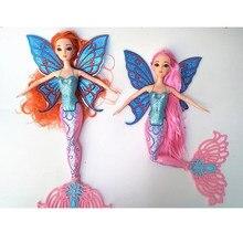 Brinquedo mágico da boneca da sereia da menina moderna azul de 30cm com o presente de aniversário das crianças da asa