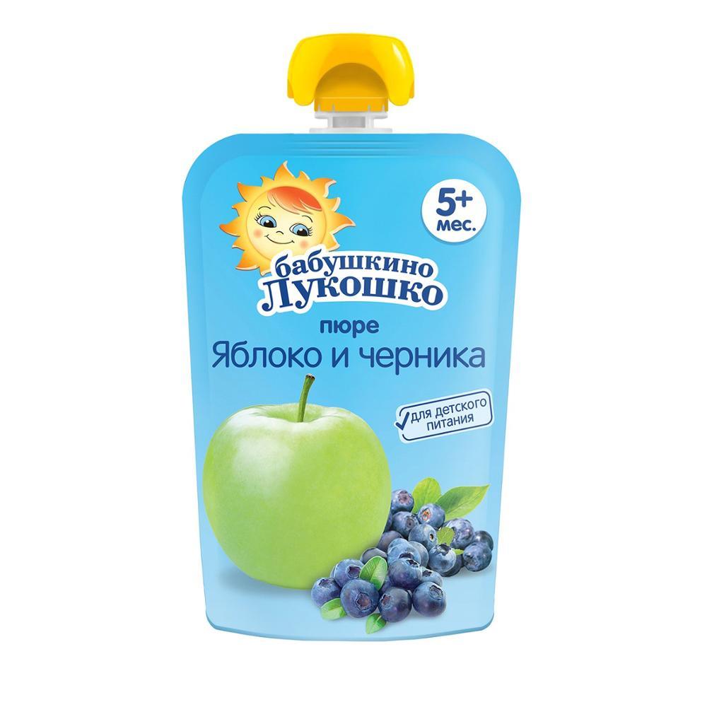 Пюре Бабушкино лукошко яблоко-черника для детей с 5 месяцев 90 г