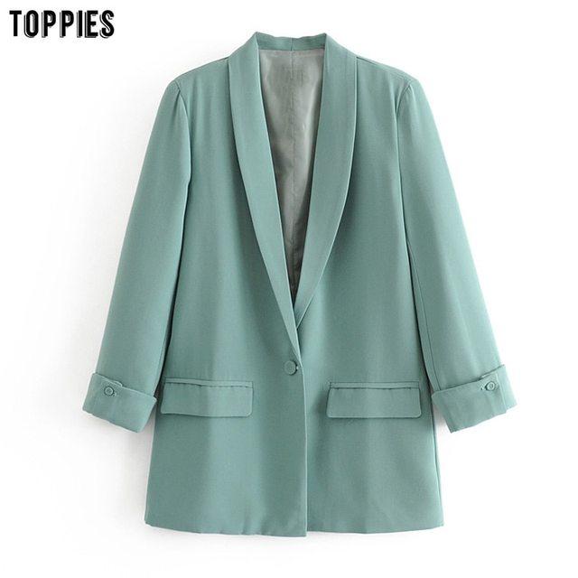 Toppies 2021 Women Long Jacket Rolled Sleeve Blazer Femenino Suit Single Button Chaquetas White Coat 5