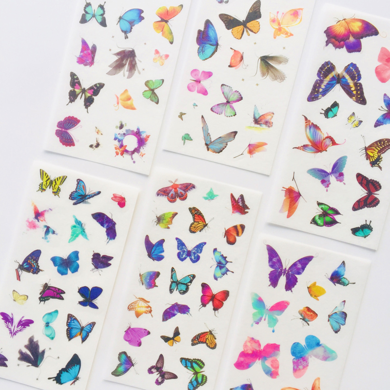 6 Sheets Butterfly Decorative Adhesive Stickers Decoration