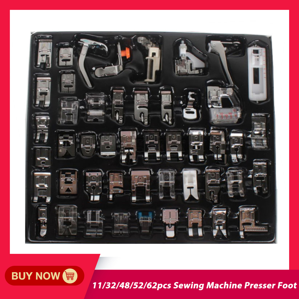 11/32/48/52/62pcs Sewing Machine Supplies Presser Foot Feet For Sewing Machines Feet Kit Set With Box For Brother Singer Janome