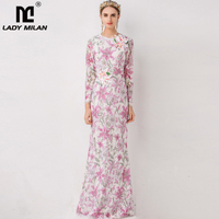 Lady Milan Women's Runway Designer Dress O Neck Wrist Sleeves Embroidery Lace Sequined Appliques Elegant Autumn Long Dresses