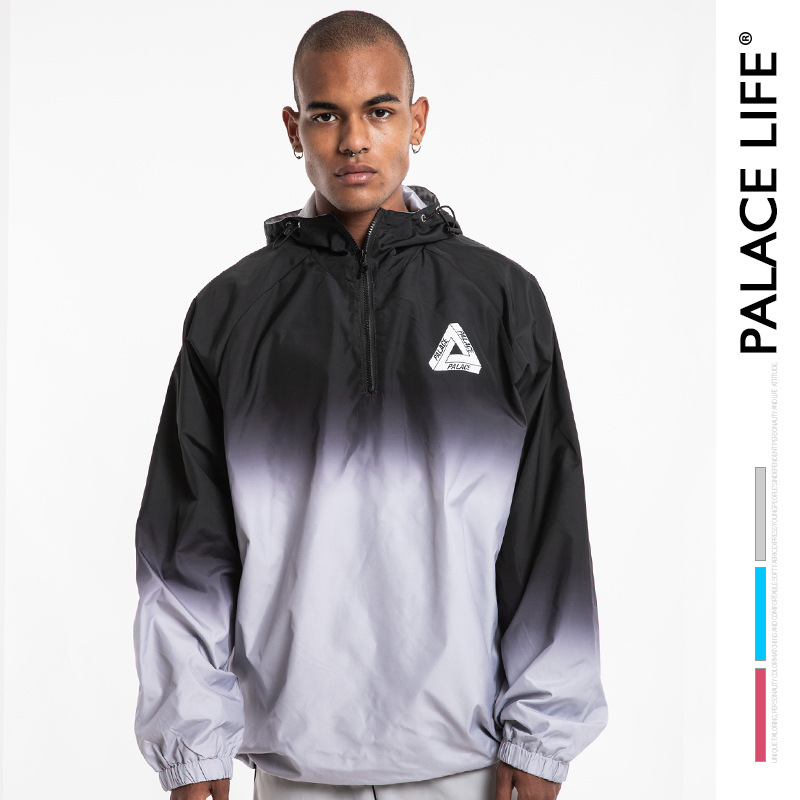 Europe And America Popular Brand Men'S Wear Loose-Fit Couples Triangular Printed Gradient Hooded Coat MEN'S Windbrea