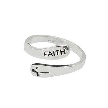 Villwice na moda anel ajustável vintage fé cruz aberto anéis para mulher masculino jóias cristãs
