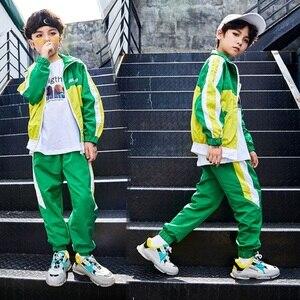 Image 4 - Groene Jazz Dans Kostuums Kinderen Hiphop Street Dance Praktijk Slijtage Kind Stage Performance Rave Outfit Casual Kleding DF1631