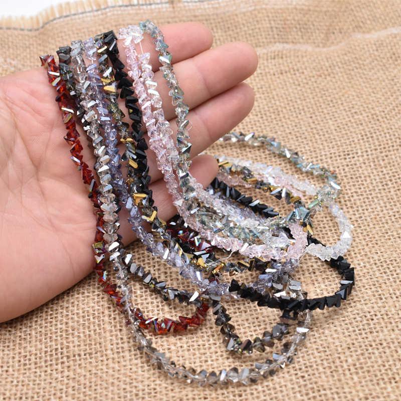 Yanqi Shining Triangle paciorki szklane kolory 6mm 100 sztuk kryształowe szklane koraliki do tworzenia biżuterii DIY ręcznie robiona bransoletka hurtownia