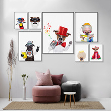 Nordic Style Modern Canvas Painting Cartoon Cute Pet Dog Poster Wall Art Interesting Pictures For Living Room Home Decor Modular недорого