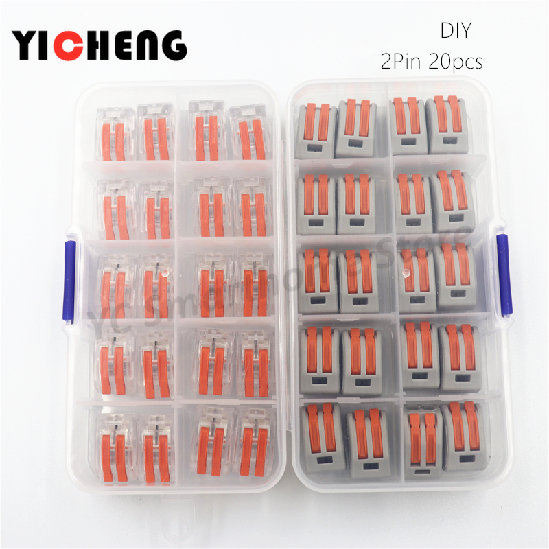 20pcs box case Universal Compact Wire Wiring Connector 2 pin Conductor Terminal Block With Lever 0.08 2.5mm2 wire connector DIY-in Connectors from Lights & Lighting