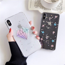 Epoxy Star Diamond Phone case For iphone 7 X Funny Transparent Soft TPU Cover iPhone 6S 8 Plus XR XS Max