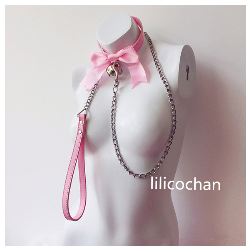 High Quality Lovely Sailor Moon Bow Bell Leather Collar Lead Chain Bondage Restraints Adult Game BDSM Collars Sex Toys Sex Game