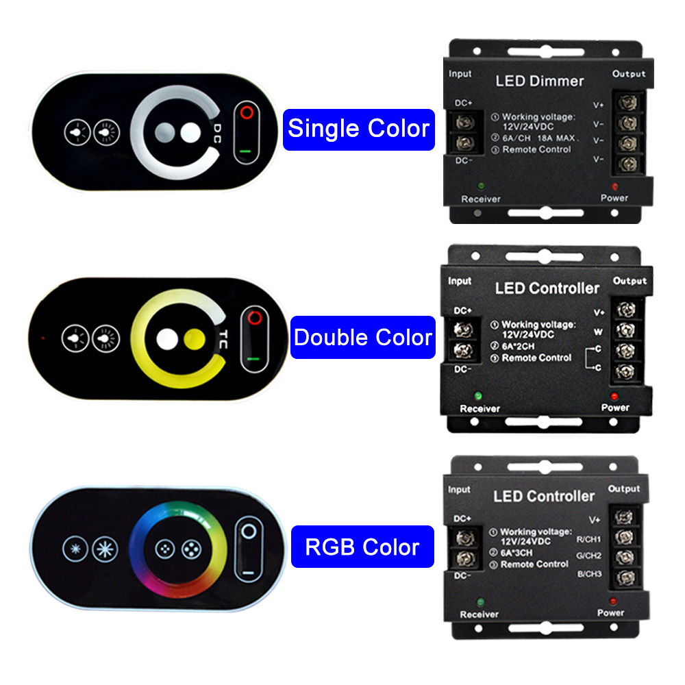 Touch LED RGB Single color <font><b>Dimmer</b></font> Controller RF 433MHz Wireless 18A 216W DC <font><b>12V</b></font> 24V LED <font><b>Remote</b></font> Control for LED Strip lights image