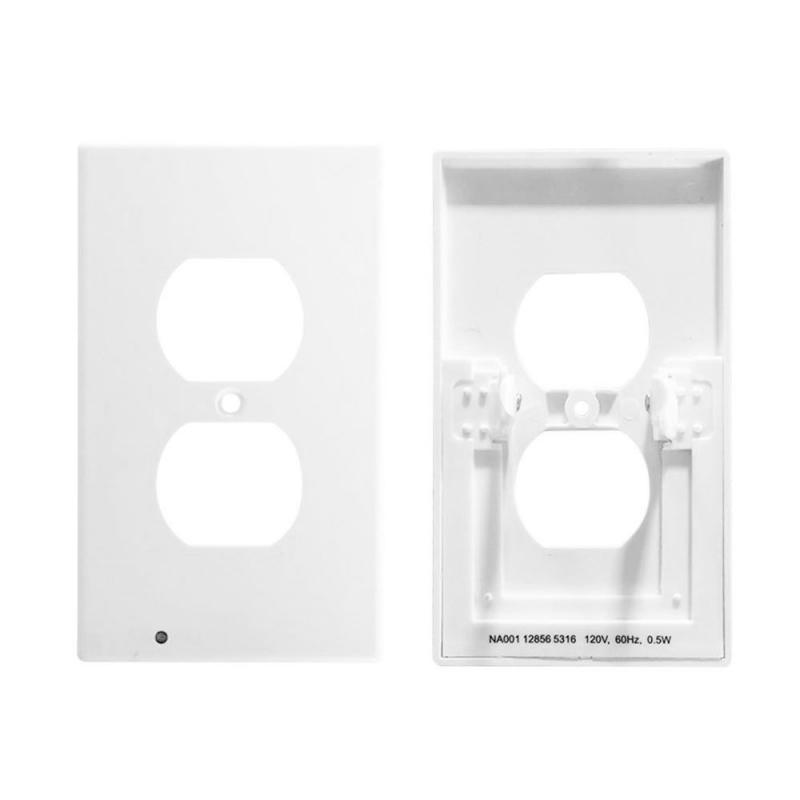 Outlet Wall Plate With Led Night Lights, Safety Light Sensor Switch Socket Plug Cover Plate For Bedroom Kitchen Hallway Bathroom