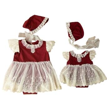 2 szt Niemowlęta kapelusz Romper sukienka kombinezon zestaw noworodka boże narodzenie fotografia rekwizyty niemowlęta sesja zdjęciowa kostium stroje tanie i dobre opinie CN (pochodzenie) W wieku 0-6m 7-12m 13-24m 25-36m Kobiet COTTON Patchwork