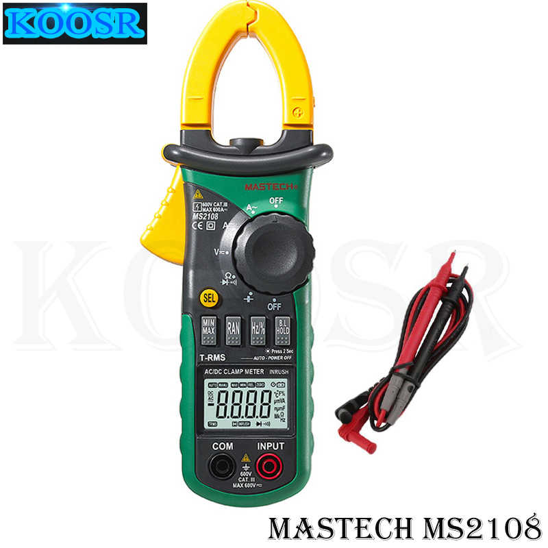 Mastech MS2108 Digital AC/DC Clamp Meter Tester Display LCD Vero RMS Auto/Manuale Gamma Corrente Frequenza Tensione Meter
