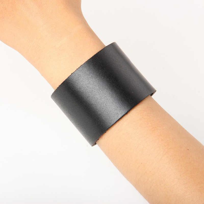 JINSE 最新デザイン黒本革チャームブレスレットシンプルなブランクデザイン幅ブレスレット & バングル PSL294