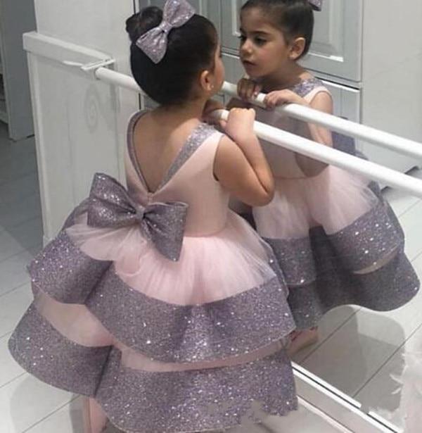 Rosa Puffy Tulle Vestito Dalla Ragazza di Fiore Backless Paillettes Bambino Delle Ragazze Festa di Compleanno Abiti Puffy Abiti Da Principessa