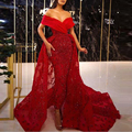 Celebrity Gowns Burgundy Vintage Beaded Long Mermaid Evening Gown Detachable Train Off Shoulder Robe De Soiree Prom Party Dress