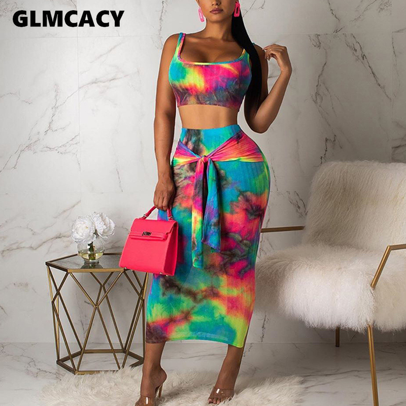 Women Two Piece Matching Sets Tie Die Printed Plus Size Spaghetti Strap Crop Top & High Waist Bodycon Skirts