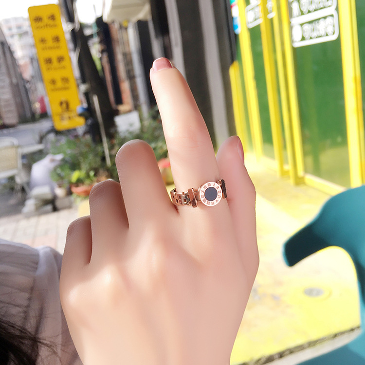 KNOCK Hot  Woman Rings Stainless Steel Black Roman Numerals  Rose Gold Color Hollow Out Rings Fashion Jewelry 5