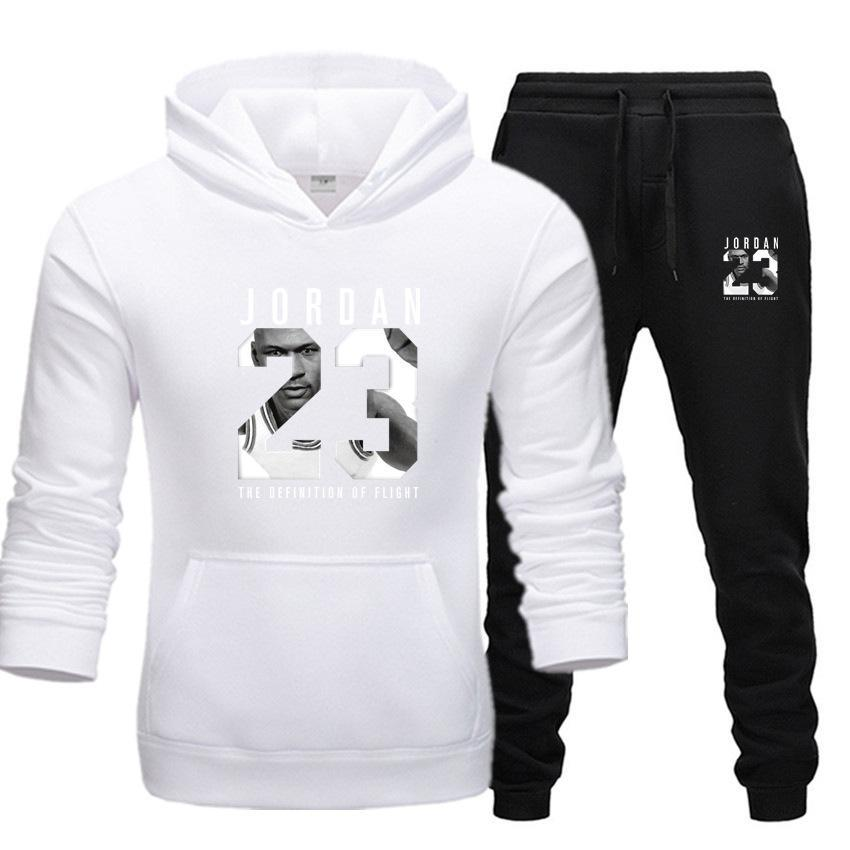 2019 Brand Tracksuit Fashion JORDAN 23 Print Men Sportswear Pullover Two Sets Leisure Fleece hoodies +Pants Sporting Suit Male  (1)