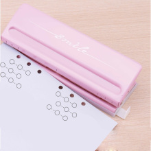 Metal 6 Hole Punch Pink Craft Punch Paper Cutter Adjustable DIY A4 A5 A6 Loose Leaf Paper Punch Scrapbooking Office Stationery