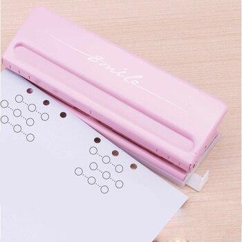 Metal 6 buraco perfurador rosa artesanato perfurador cortador de papel ajustável diy a4 a5 a6 solto-folha papel perfurador scrapbooking escritório artigos de papelaria