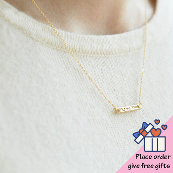 LOVE ME Pendant Necklace collier femme Sweet Romantic Christmas Gift Jewelry for Girls Gold Stainless Steel Necklace for Women image