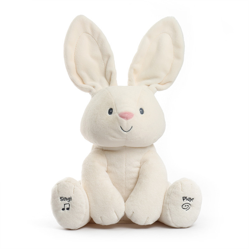2020 Hot Hide And Seek Elephant And Rabbit Electric Stuffed&Plush Preschool Toys With English Songs Ear Talk For Toddlers Gift