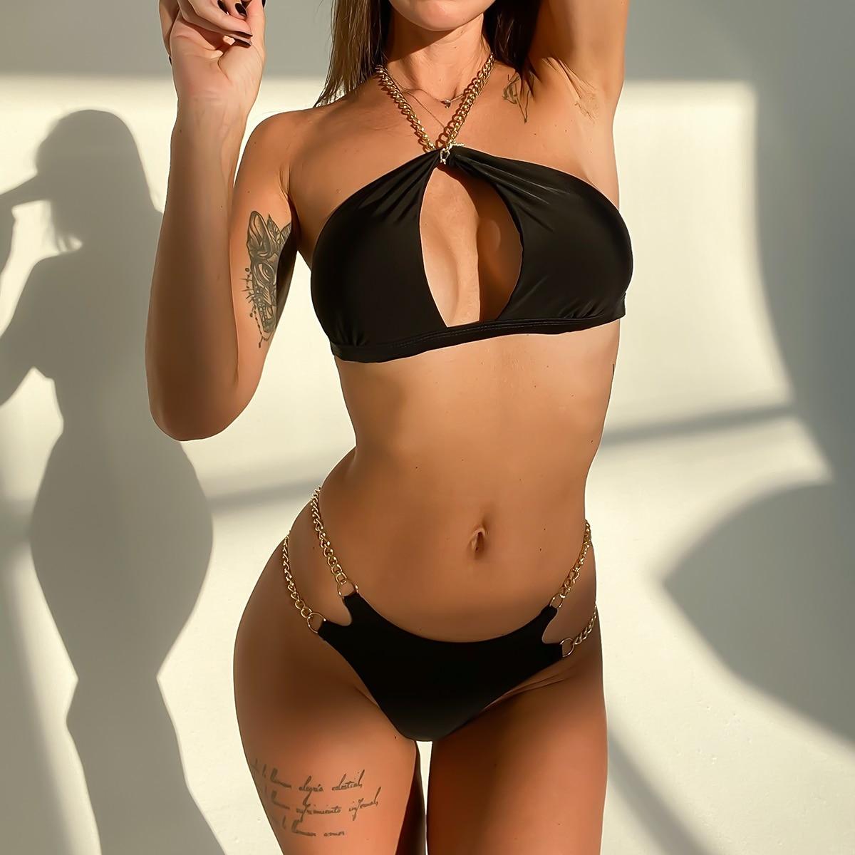 DJC313001-Women Sexy Bikini High Waist Swimsuit