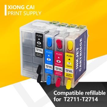 Cartucho de tinta recargable T2711 2712 2713 2714 para impresora Epson WorkForce WF-3620DWF 3640DTWF 7110DTW 7610DWF 7620 wf7710 7720