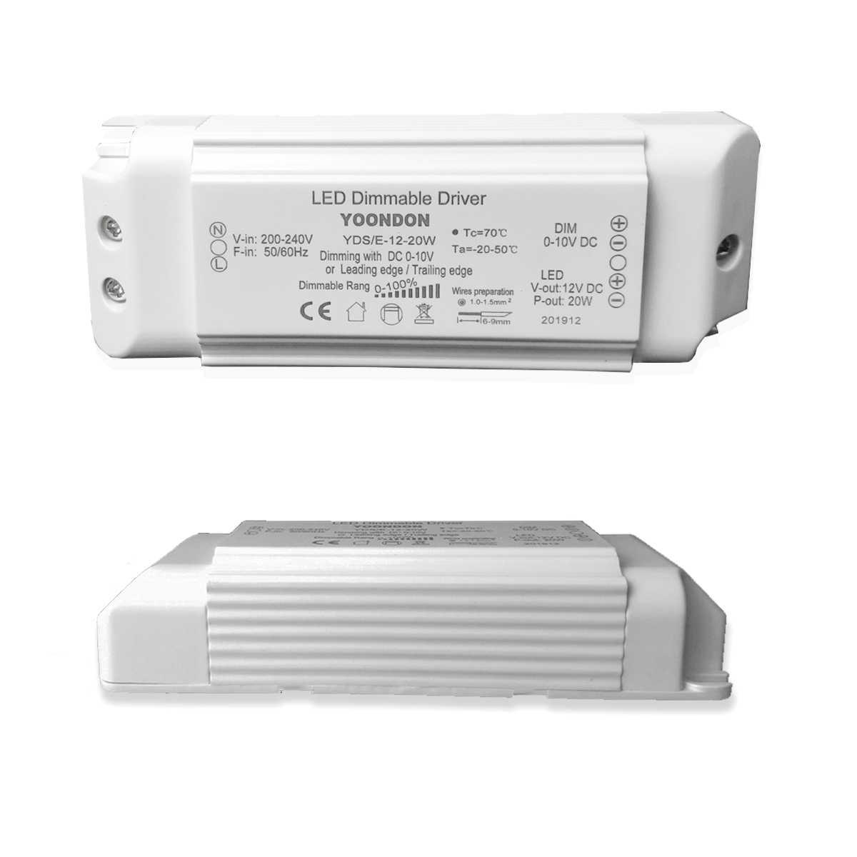 Kunststoff 230 V 12 V AC Dimmbarer IP40 Transformator weiß 105 VA