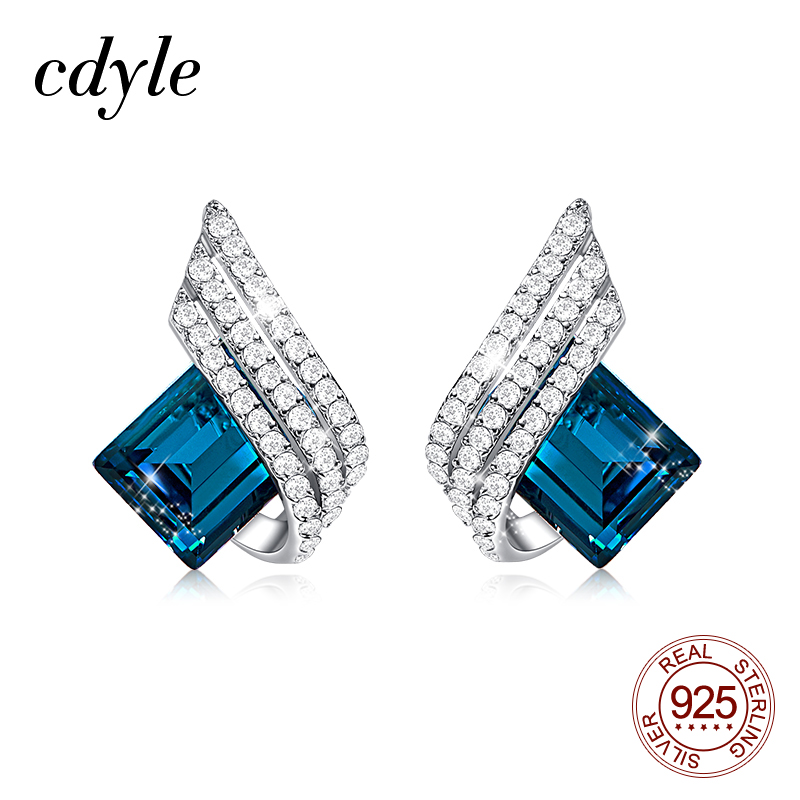 Cdyle 925 Silver Jewelry Wedding Bridal Engagement Earrings with Shiny Cubic Zircon Geometric Blue Crystal Earrings for Women