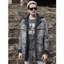 Овчина натуральная кожа пальто мужская коричневая B3 курточка бомбер мужская зимняя длинная меховая Толстая шерстяная флисовая куртка Тренч пальто