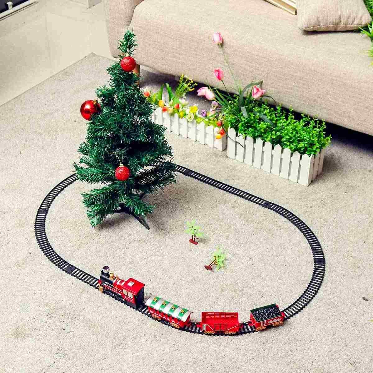 Natal Rel Listrik Mobil Kereta Mainan Anak Listrik Mainan Kereta Api Set Balap Transportasi Jalan Bangunan Hadiah
