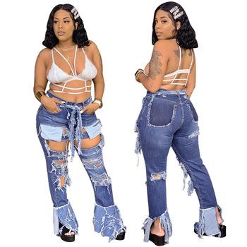Najgorętsze seksowne kobiety otwory zgrywanie modne niebieskie dżinsy Flare Bottom modne dziewczyny spodnie dżinsowe kieszenie nowości prawdziwe zdjęcia tanie i dobre opinie La MaxPa COTTON Poliester Pełnej długości JEANS WOMEN Na co dzień Zmiękczania Wysoka Zipper fly HOLE Myte Spodnie pochodni