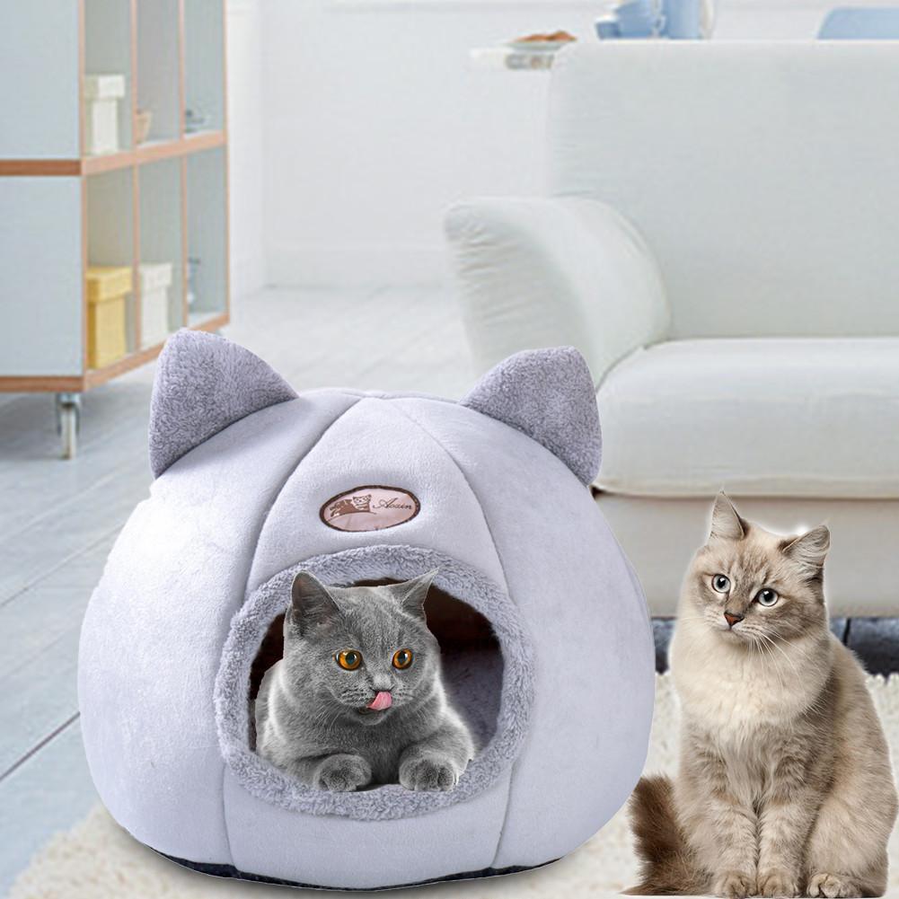 Pet Dog Cat Tent House Kennel Winter Warm Nest Soft Foldable Sleeping Mat Pad