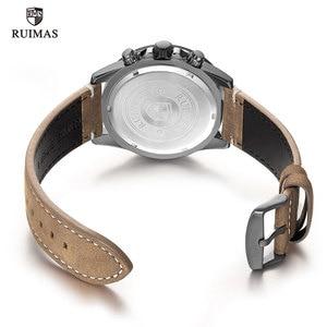 Image 5 - RUIMAS אופנה קוורץ שעונים גברים יוקרה למעלה מותג הכרונוגרף שעון איש עור צבא ספורט שעוני יד Relogios Masculino