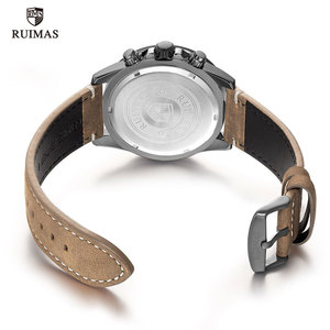 Image 5 - Ruimas ファッションクォーツは、男性の高級トップブランド腕時計クロノグラフ男革軍スポーツ腕時計 relogios masculino