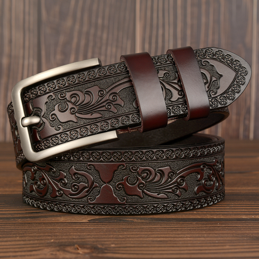 New Cow Leather Belts Men Vintage Pin Buckle Male Waistband Genuine Leather Men Belt Flower Pressed Strap Waist Belt For Jeans