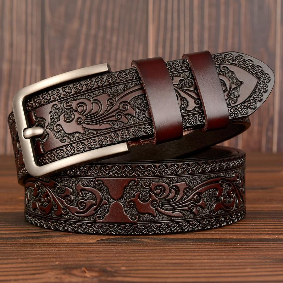 New Cow Leather Belts Men Vintage Pin Buckle Male Waistband Genuine Leather Men Belt Flower Pressed Strap Waist Belt for Jeans