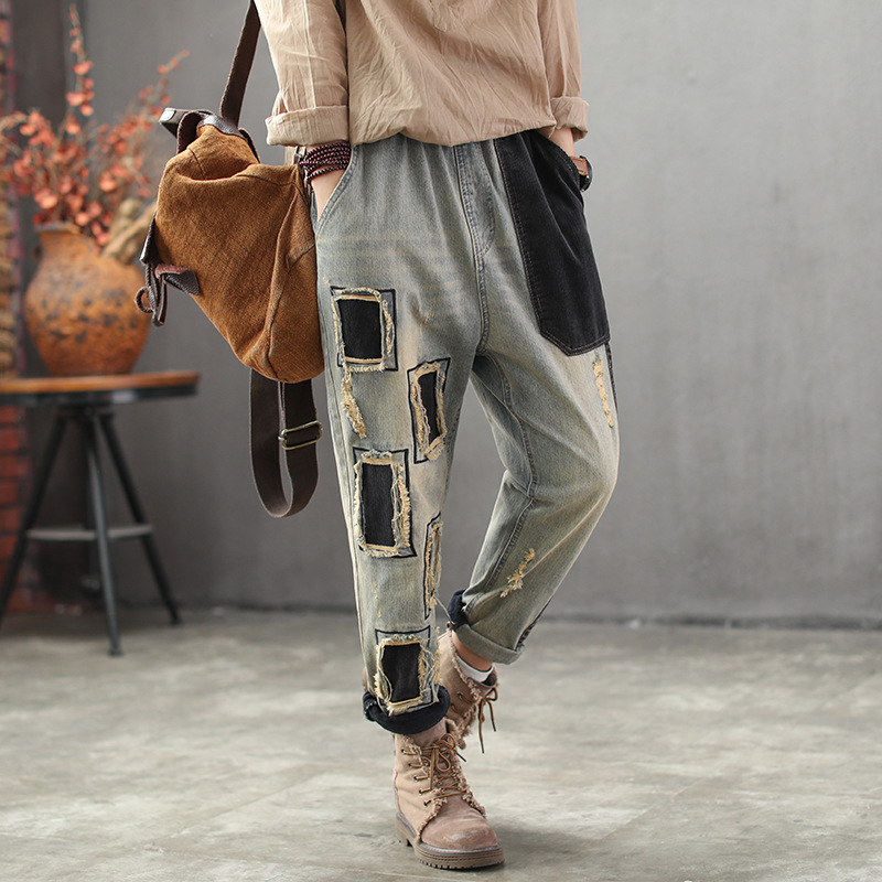 2020 New Arrival Women Spring Fashion Elastic Waist Vintage Patchwork Harem Pant Long Casual Plus Size Denim Jeans For Women