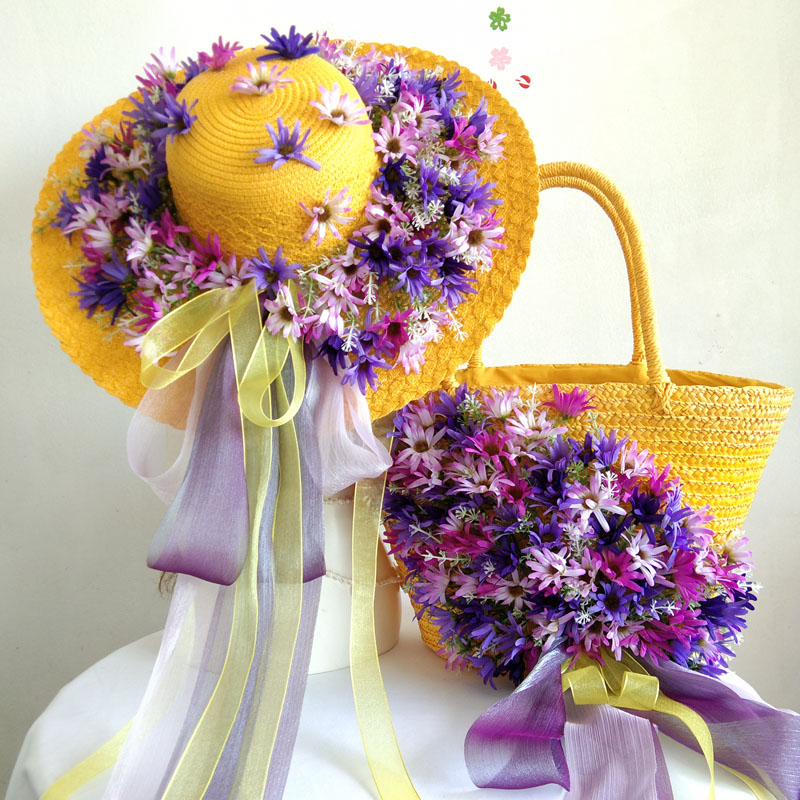 Summer Holiday Vacation Casual Bohemia Tote and Hat Women Fashion Straw Beach Bag Colorful Flower Wave Raffia Rattan Handbag