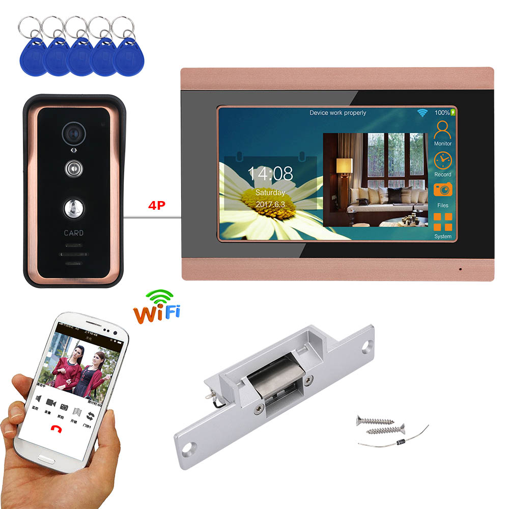 GAMWTER 7 Inch Wired / Wireless Wifi  RFID Video Door Phone Doorbell Intercom System With Electric Strike Lock  AHD 720P Camera