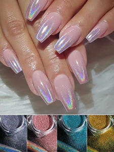 Silver Glitter Gel-Polish Holographic-Powder DIP Nails Laser Manicure Chrome-Nail-Powder