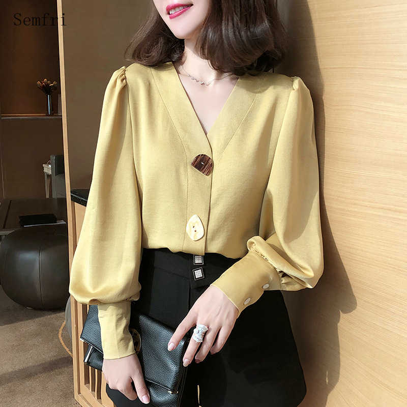 Semfri 2020 Spring Summer Chiffon Shirt Women Trumpet Long Lantern Sleeve Blouses Tops Sexy V-neck Ladies Office Shirts
