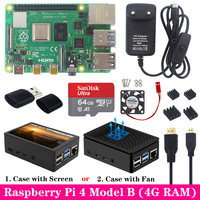 Original Raspberry Pi 4 Model B Kit+ABS Case+Fan or 3.5 inch Touch Screen+3A Type C Power Supply+Heat Sink for Raspberry Pi 4 4B