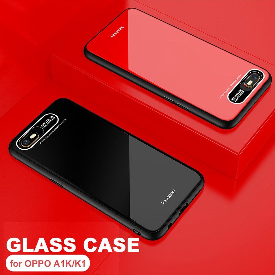 A1K Leica Lens Tempered Glass Case For OPPO K1 Luxury Glitter Silicone TPU Frame Hard Full Back Cover for OPPO A1K