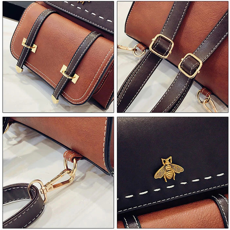 Image 5 - MVK Women Backpack Little Bee School College Backpack Vintage Pu Leather Preppy Women Famous Backpack Women mochila Dropshipping-in Backpacks from Luggage & Bags
